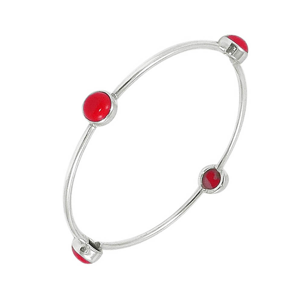 Elite Gemstone Silver Bangle