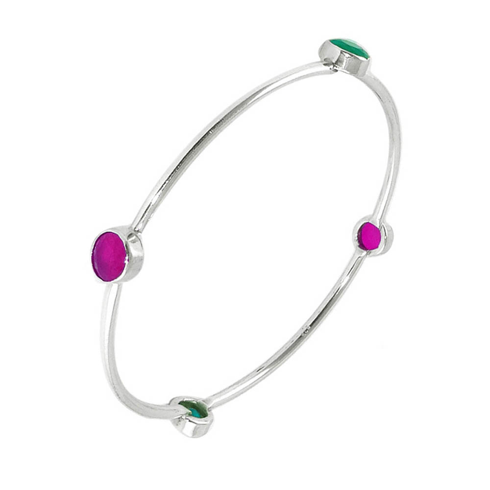 Beaut Gemstone Oxidized Silver Bangle