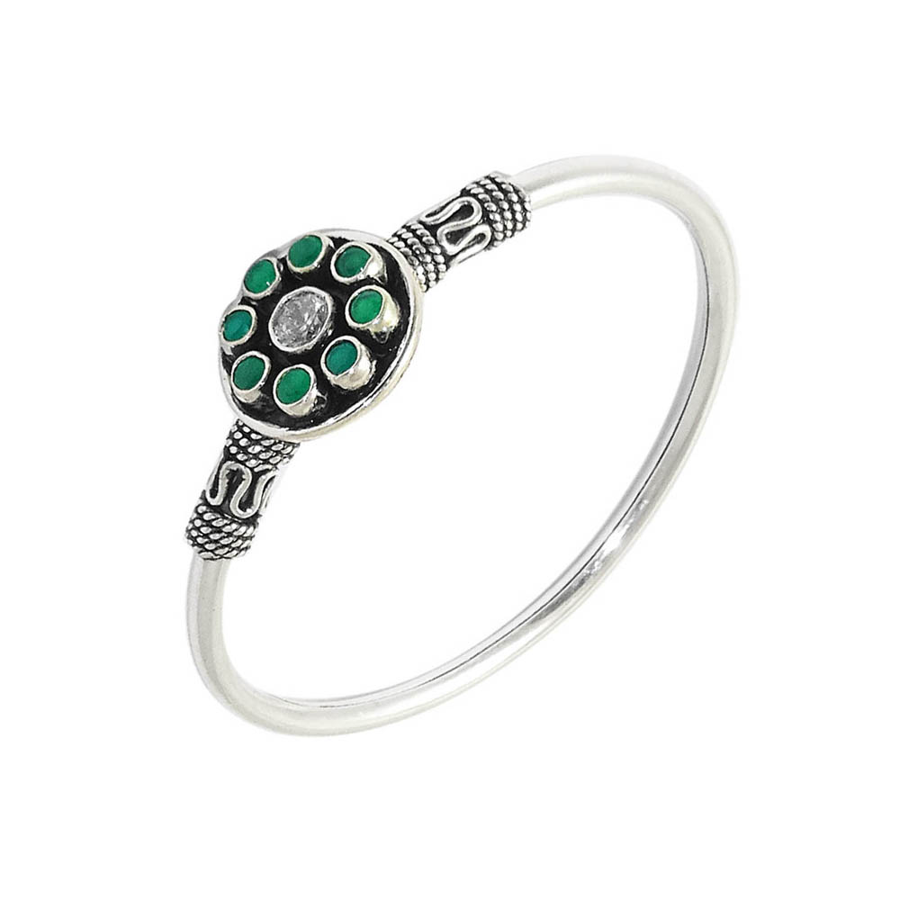 Alluring  Oxidized Gemstone Silver Bangle