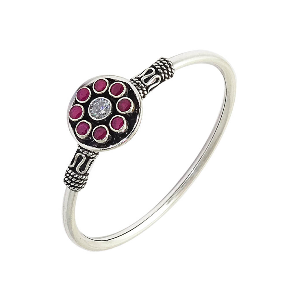 Attractive Gemstone Oxidized Silver Bangle