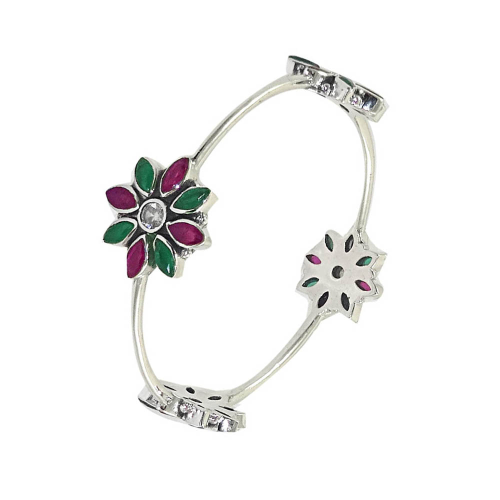 Heavenly Floral Oxidized Gemstone Silver Bangle