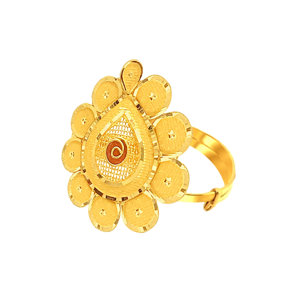 Attractive Drop Daily Wear Adjustable Gold Ring-URN1001