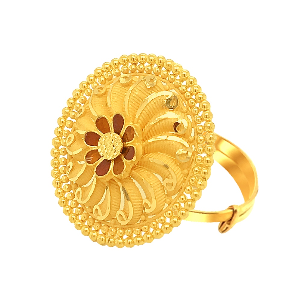 Splendid Embossed Adjustable Gold Ring-URN995