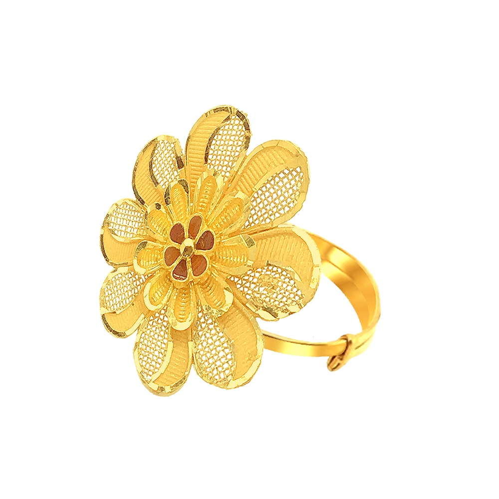 Elite Floral Adjustable Gold Ring-URN997