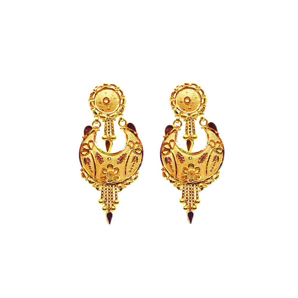 Traditional Chandbali Daily Wear Yellow Gold 18kt Earring-JNJ-091