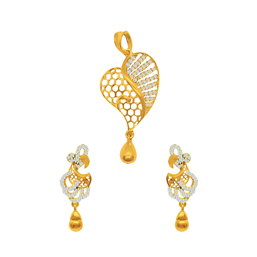 Delicate Cutout Heart Yellow Gold 18kt CZ Diamond Pendant Set-JNJ-148