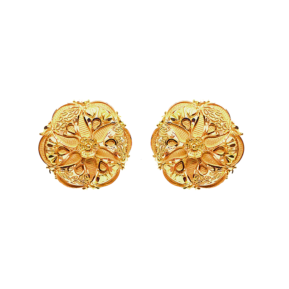 Traditional Floral Textured Daily Wear Yellow Gold 18kt Earring-JNJ-173