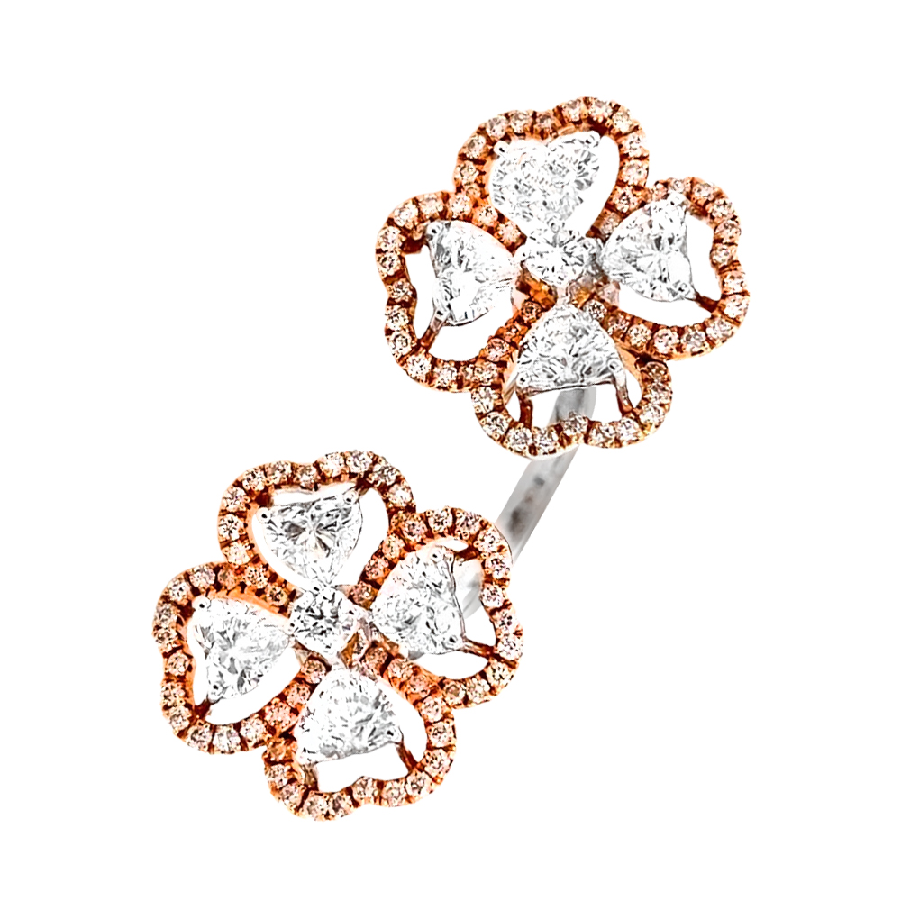 Floral Party Wear Rose Gold 18kt Earrings-267-LR11231