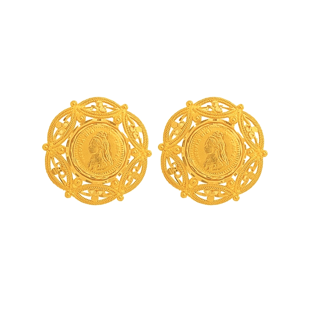Contemporary Daily Wear Yellow Gold 22kt Earrings-269-ERB1643