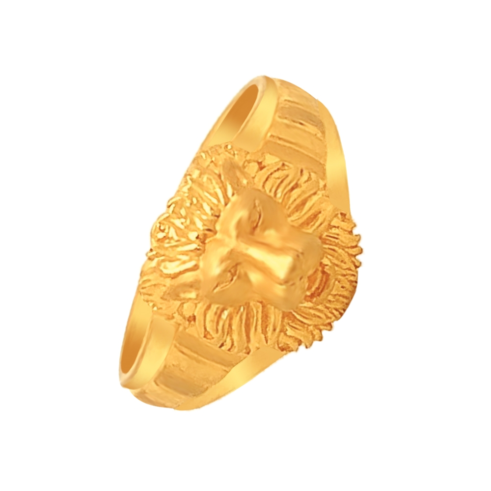 Chaming Lion Face Yellow Gold 22kt Ring-RGB1480