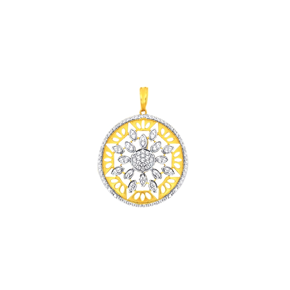 Elegant Cutout Contemporary Casual Wear CZ Yellow Gold 18kt Pendant -275-120031059
