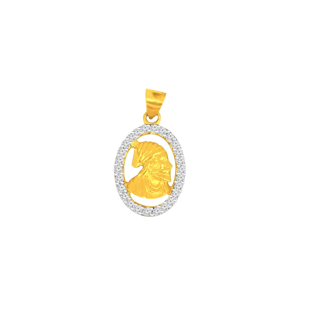 Traditional Chatrapati Shivaji Maharaj Daily Wear Yellow Gold 22kt CZ Pendant -275-120052194