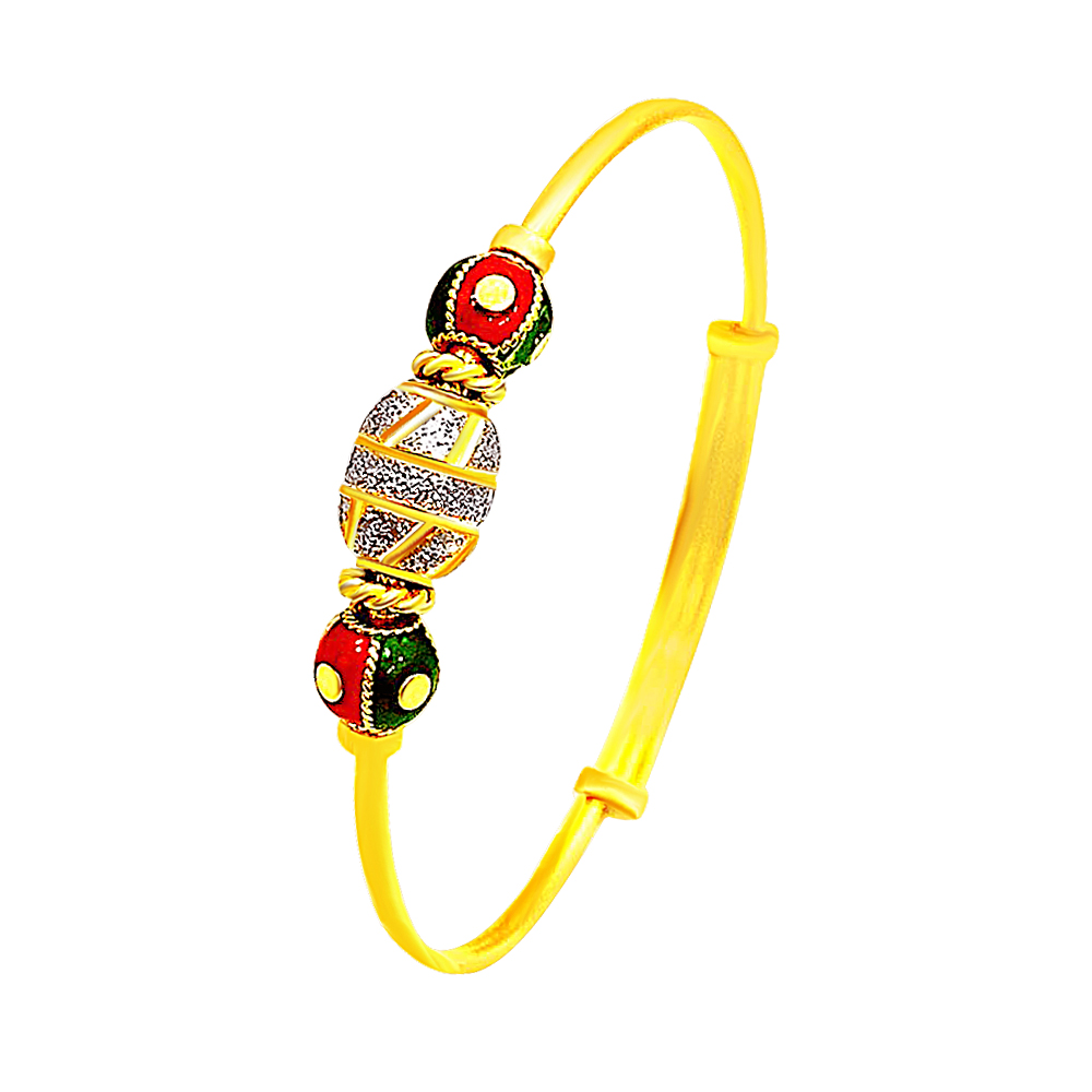 Traditional Enamel Casual Wear Yellow Gold 22kt Adjustable Bangle -283-6540