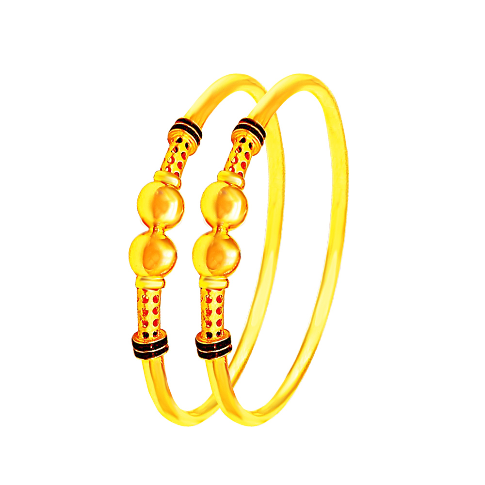 Traditional Enamel Daily Wear Yellow Gold 22kt Pipe Bangle -283-8106