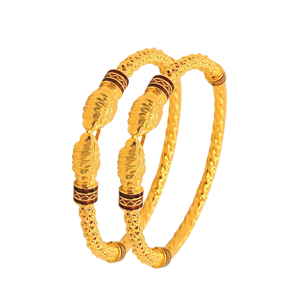 Traditional Embossed Yellow Gold 22kt Bangle (Set of 2)-BN2