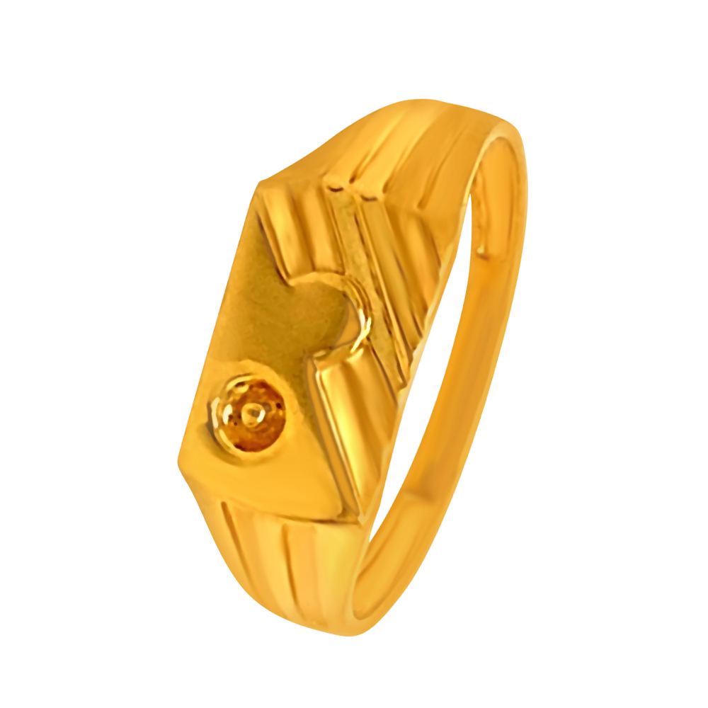 Traditional Textured Yellow Gold 22kt Ring-GRIN1
