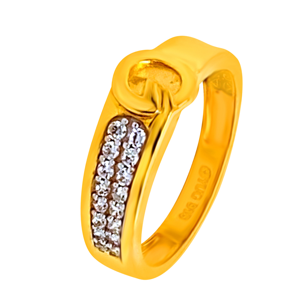 Unique Yellow Gold 22kt CZ Diamond Ring-LRIN9179