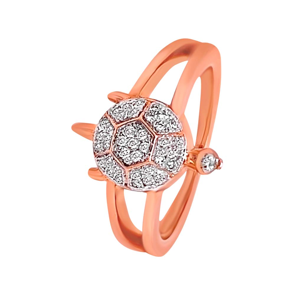 Sparkling Cluster Rose Gold 18kt Diamond Ring-GUDA05