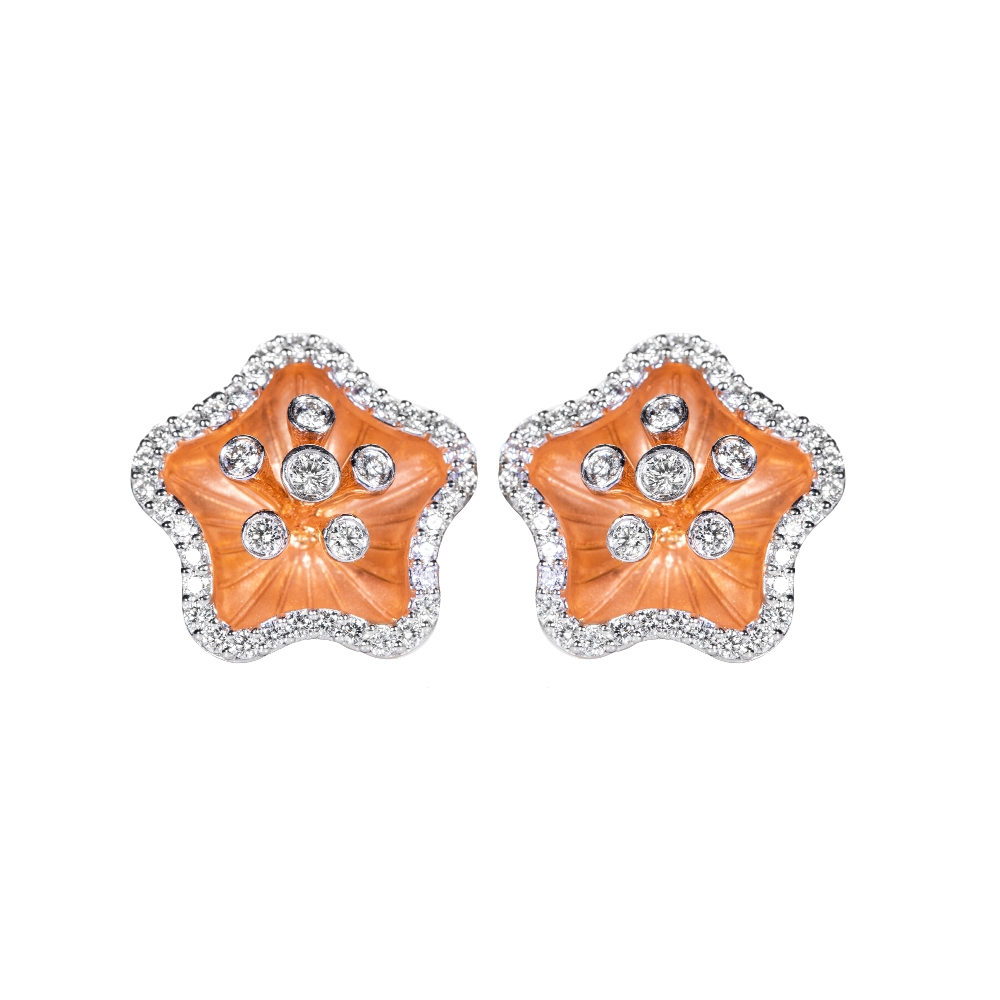 18kt Fancy Diamond Studded Earrings SDG-1898