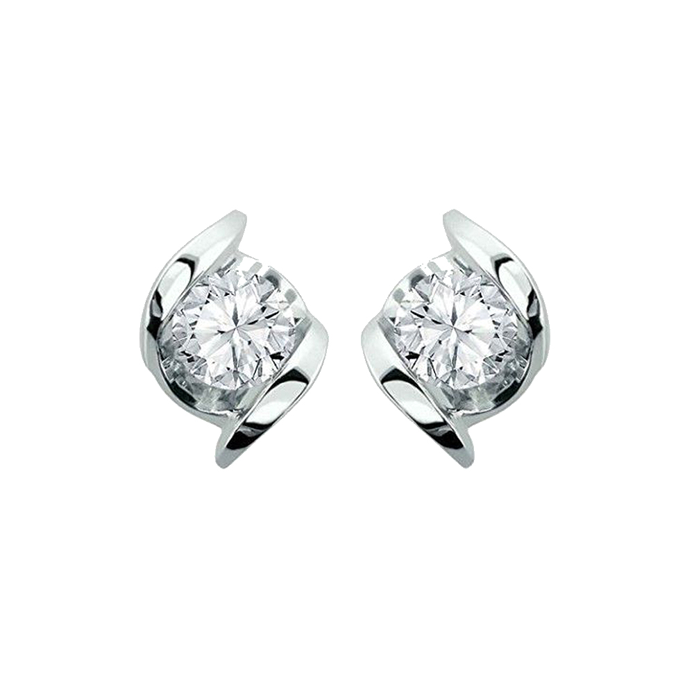Classy Swirl Twist 18kt White Gold Solitaire Diamond Earrings-SDSOL-01B