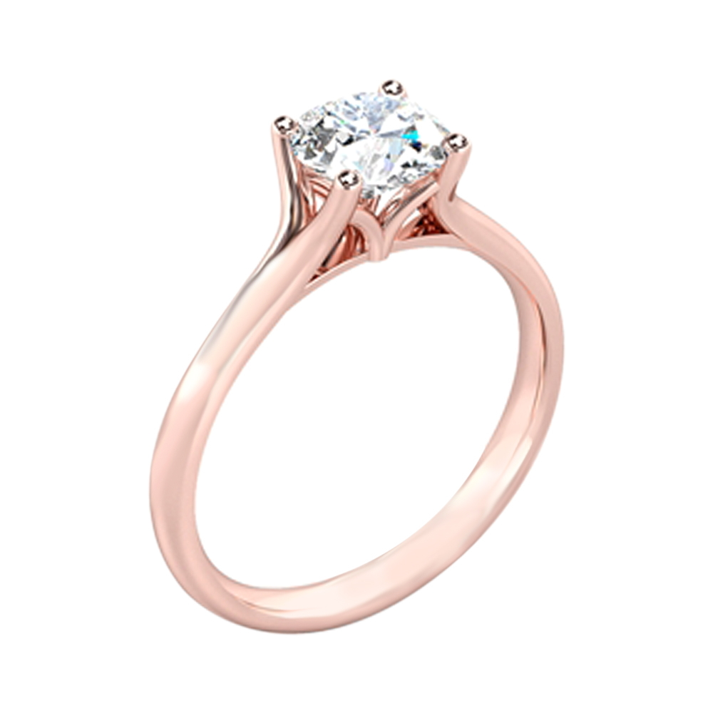 Marvelous 18kt Rose Gold Solitaire Diamond Ring-SDSOL-03A