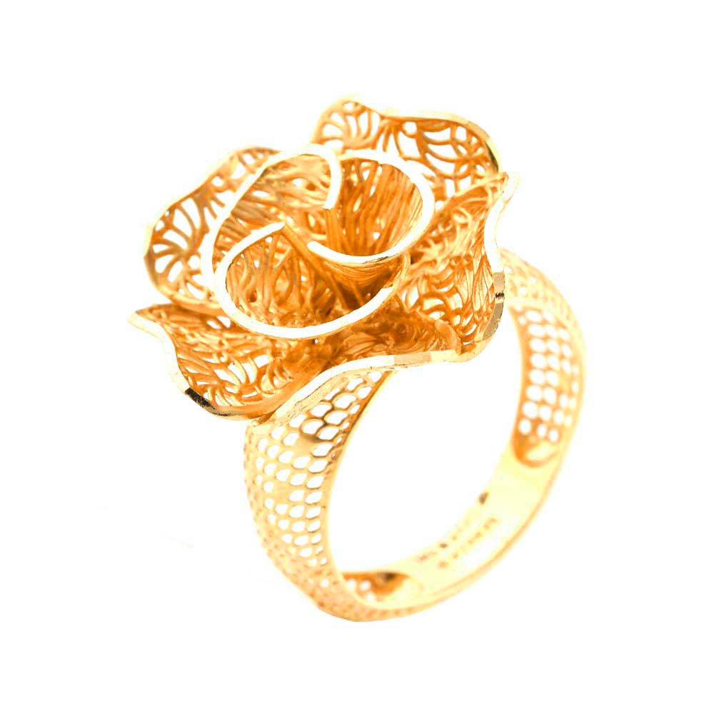Trendy Cutout Cocktial Floral 22kt Yellow Gold Ring -30-R73639