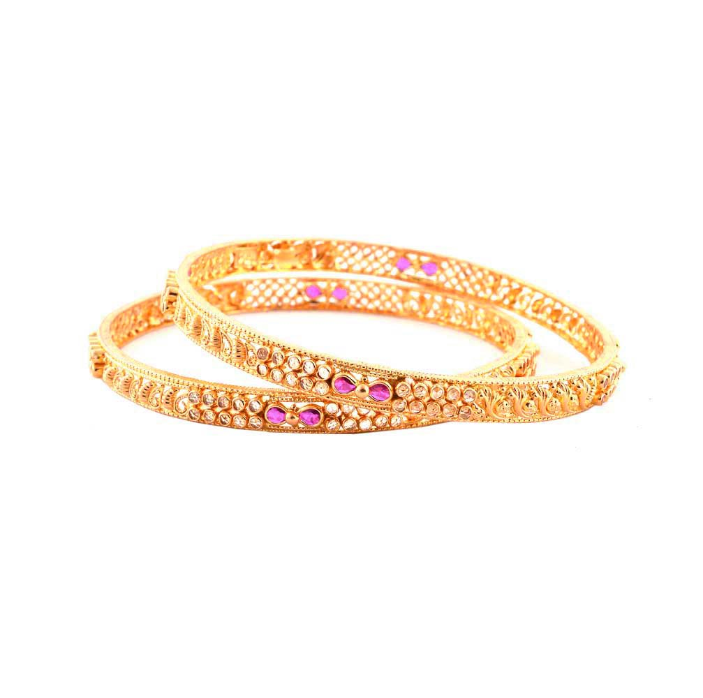 Traditional Textured Gemstone 22kt Yellow Gold Bangle (Set of Two) -6-B18522