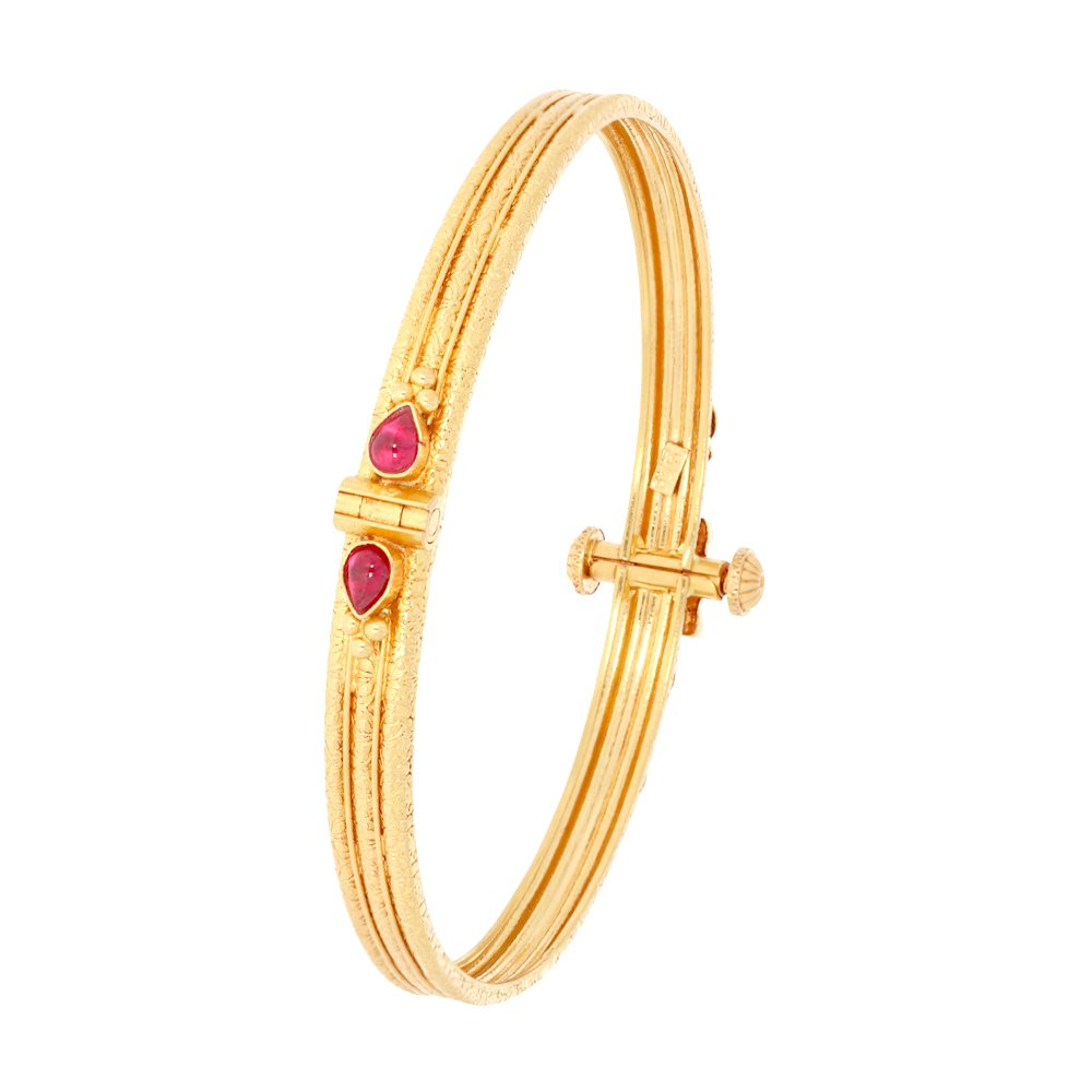 Gemstone Glossy Finish Floral Design Studded With Synthetic Spinel Openable Gold Bangle-33523 33523-1_2.jpg