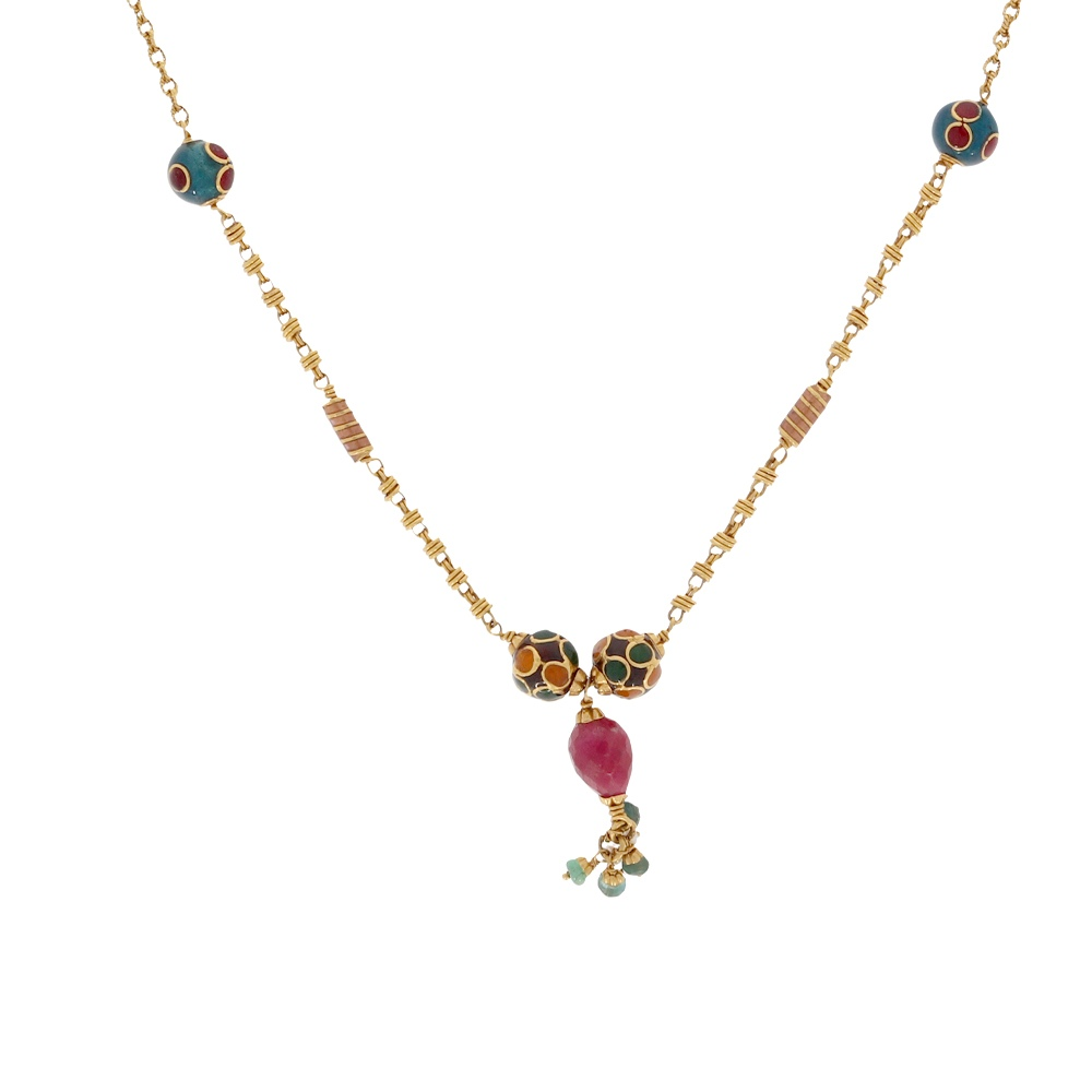 Gemstone Glossy Finish Drop Multicolour Synthetic Colour Stone With Enamel Curb Linked Gold Chain-348 348-1_1.jpg