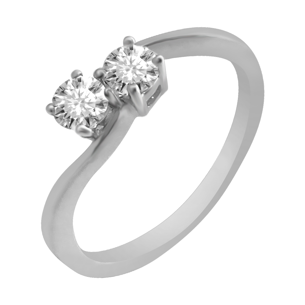 18kt White Gold Four Prong Set Two Solitaire Diamond Curve Ring-3T4HE