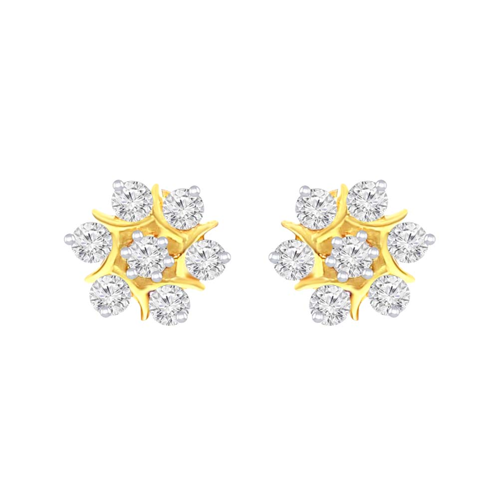 Sparkling Floral Yellow Gold 18kt Earring-T7032