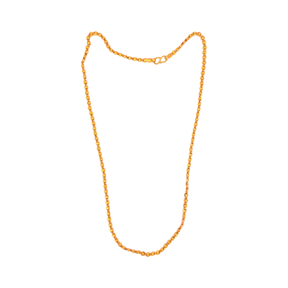 Traditional Textured Daily Wear Bead Ball 22kt Yellow Gold Chain -SJCMBFC2311