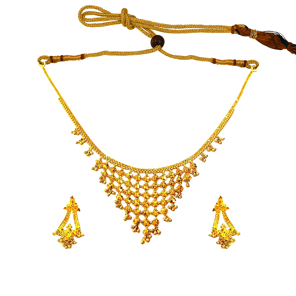 Traditional Layered Yellow Gold 22kt Necklace Set-PPJ12