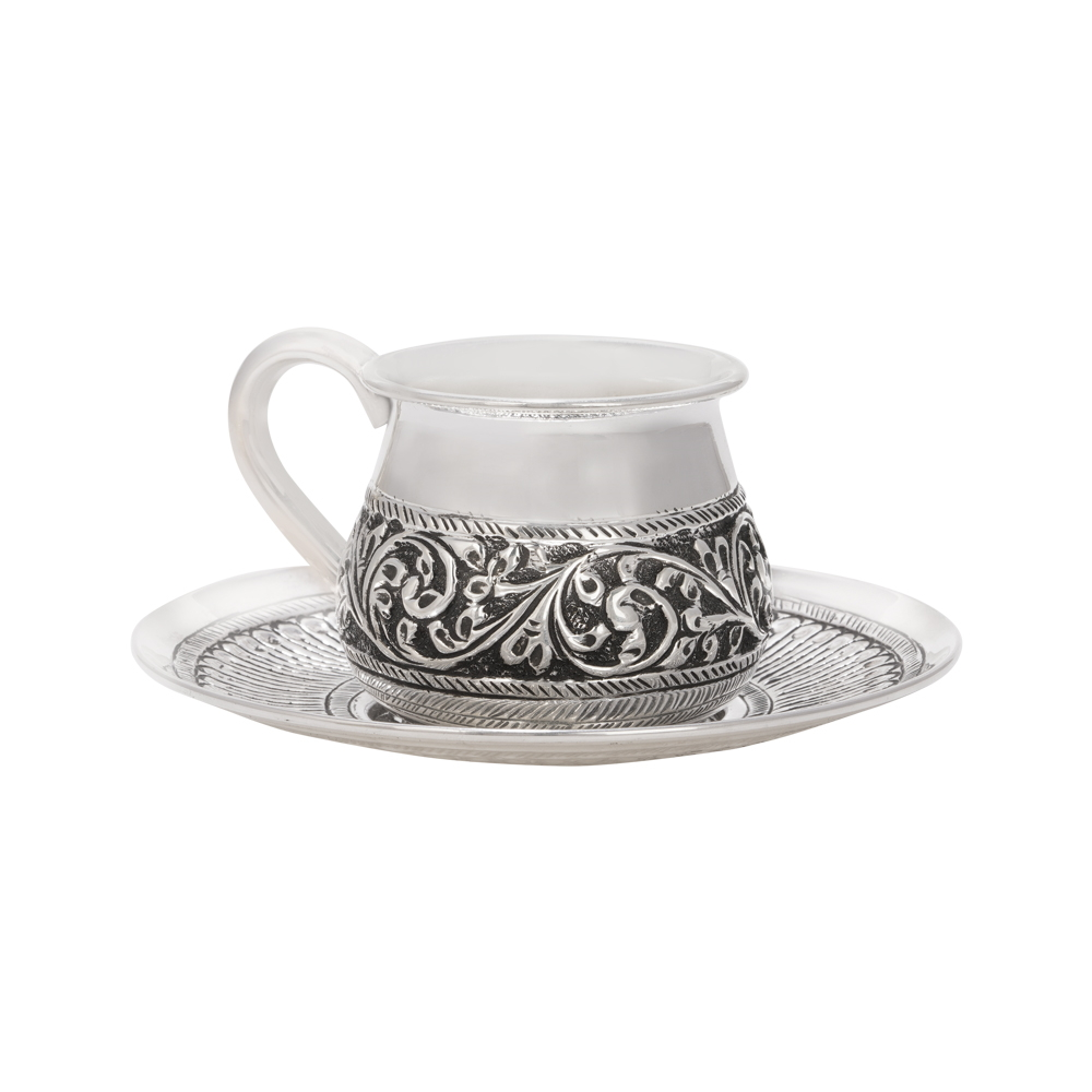 Floral Textured Silver Cup With Feather Textured Silver Saucer-STA18 STA18-1.jpg