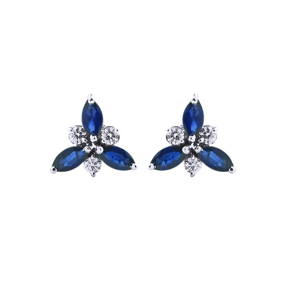 Dazzling Floral 18kt White Gold with Sapphire Diamond Earring-349-RM42740