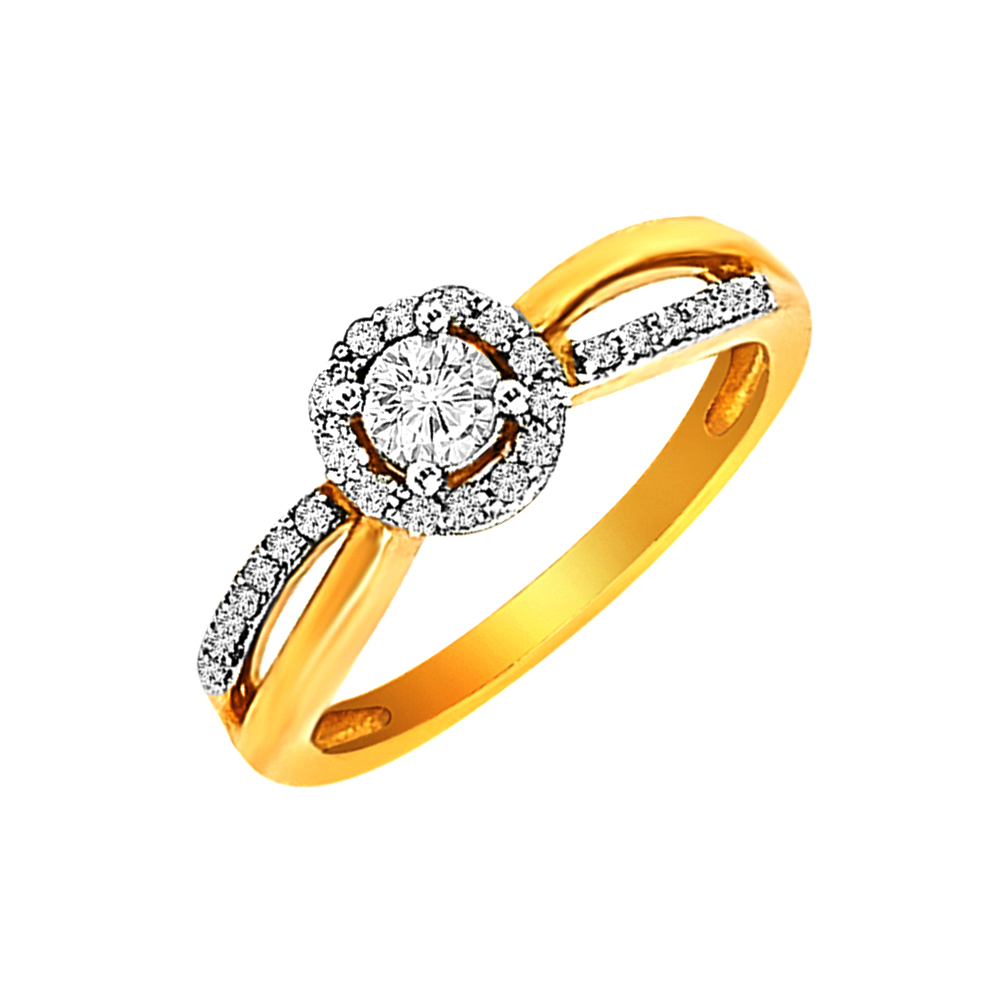 Glittering Cluster Yellow Gold 18kt Diamond Ring-DLR0147