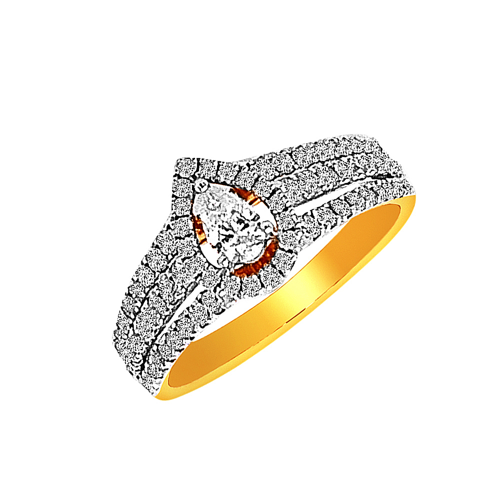 Sparkling Drop Yellow Gold 18kt Diamond Ring-DLR0168