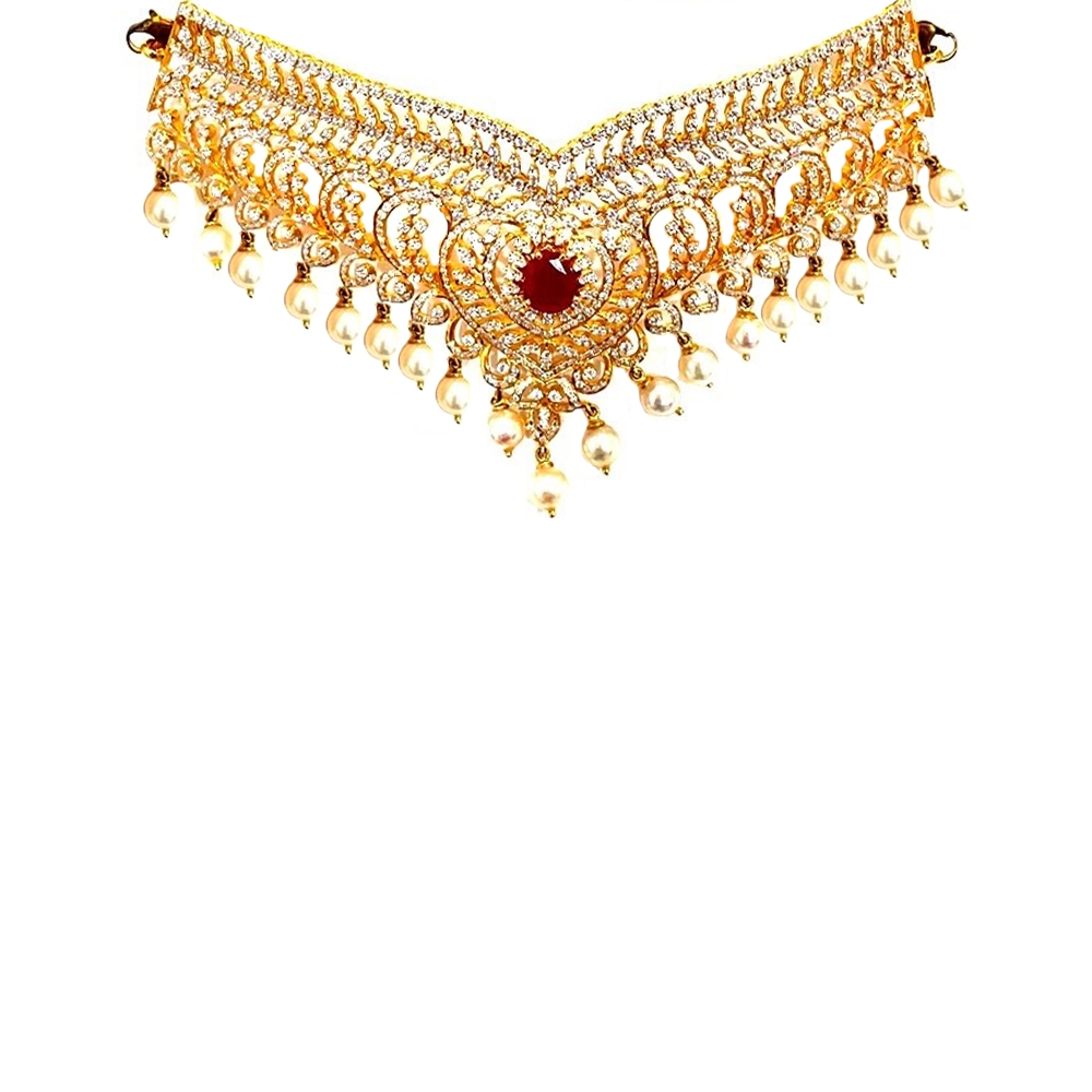 Gemstone Ceremonial Engraved Yellow Gold 22kt Pearl Gemstone Necklace-125A101 125A101-1.jpg