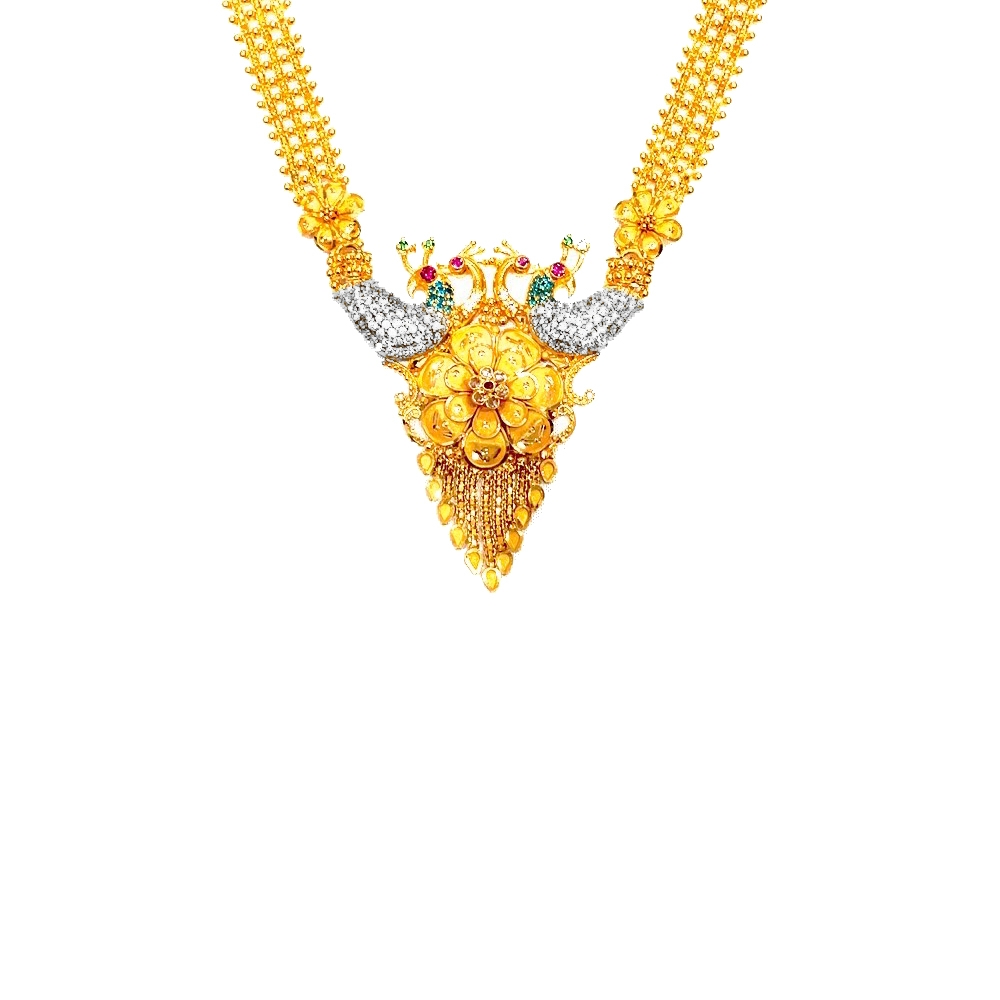 Pretty Floral Peacock Yellow Gold 22kt CZ Diamond Necklace-39A1441