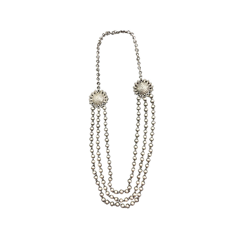 Silver Traditional Three Layered Daily Wear White Silver 925 Purity Pearl Gemstone Necklace-SSJ-130 SSJ-130-1.jpg