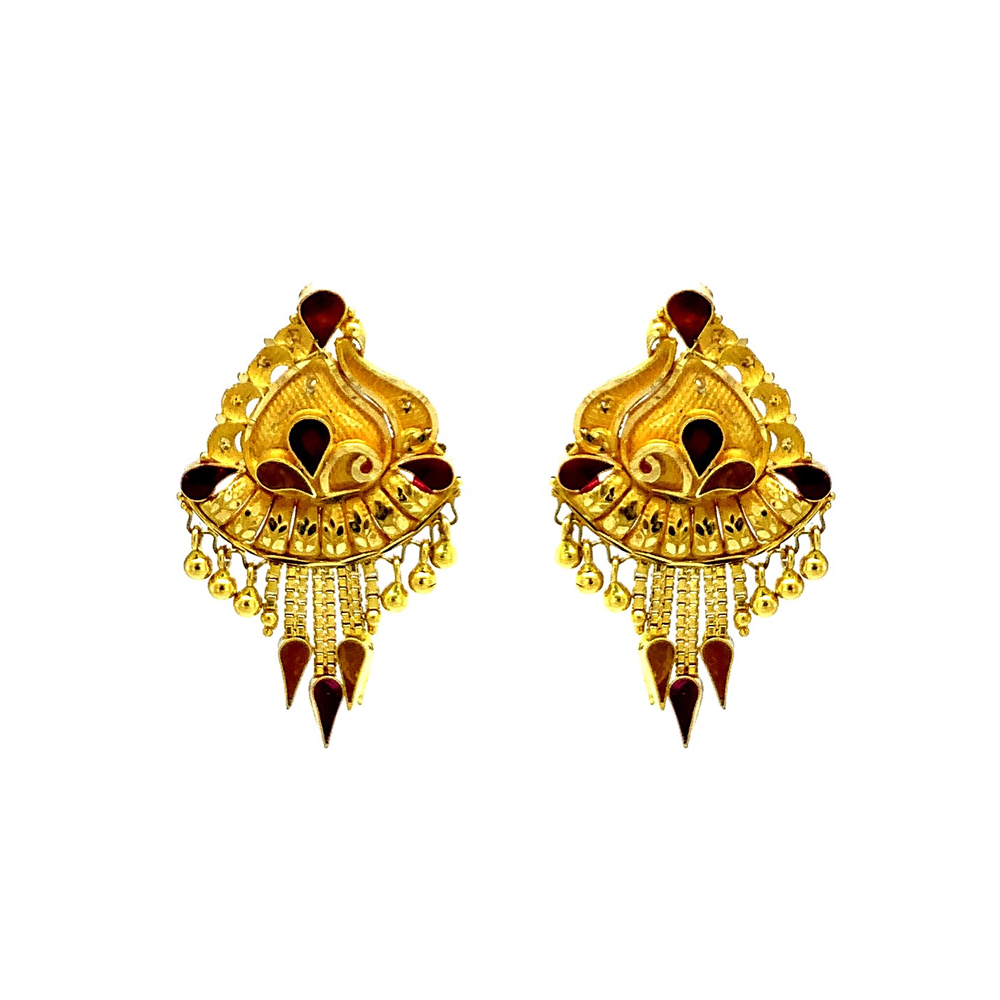 Gold Blooming Embossed Yellow Gold 22kt Earring-T211 T211-1.jpg