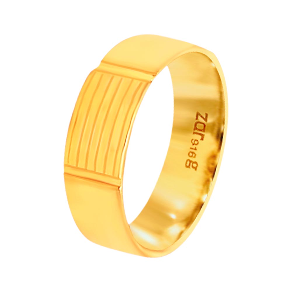 Elite Embossed Yellow Gold 22kt Ring-KN01