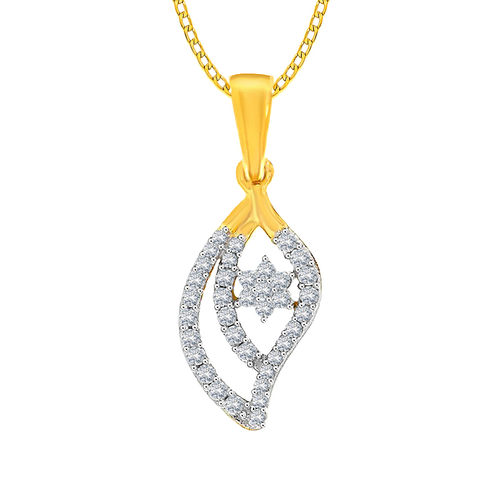 Sparkling Cluster Yellow Gold 18kt Diamond Pendant-LP10011