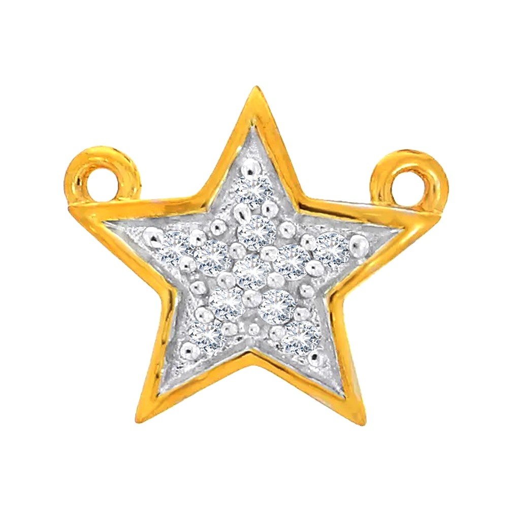 Twinkling Star Cluster Yellow Gold 18kt Diamond Pendant-LP13453