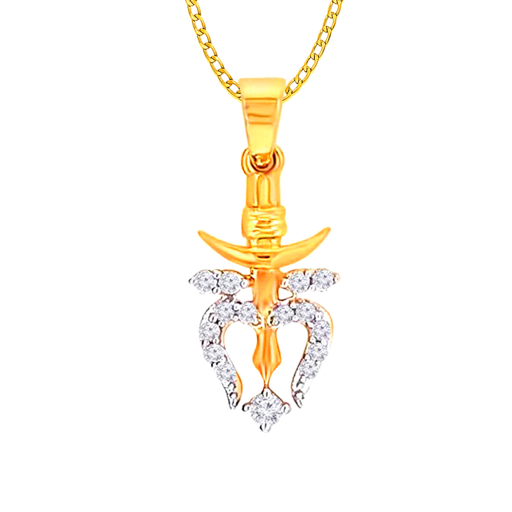 Religious Trishul Yellow Gold 18kt Diamond Pendant-LP17493