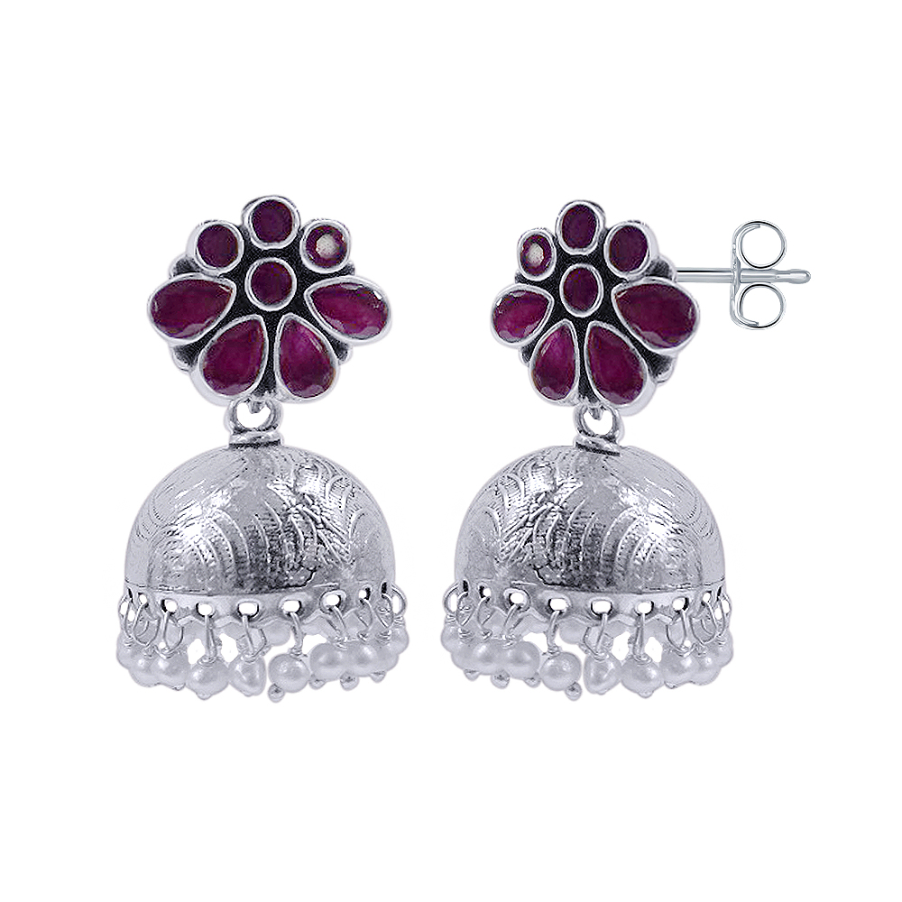 Floral Traditional Daily Wear White Silver 925 Earrings-375-NJJU2