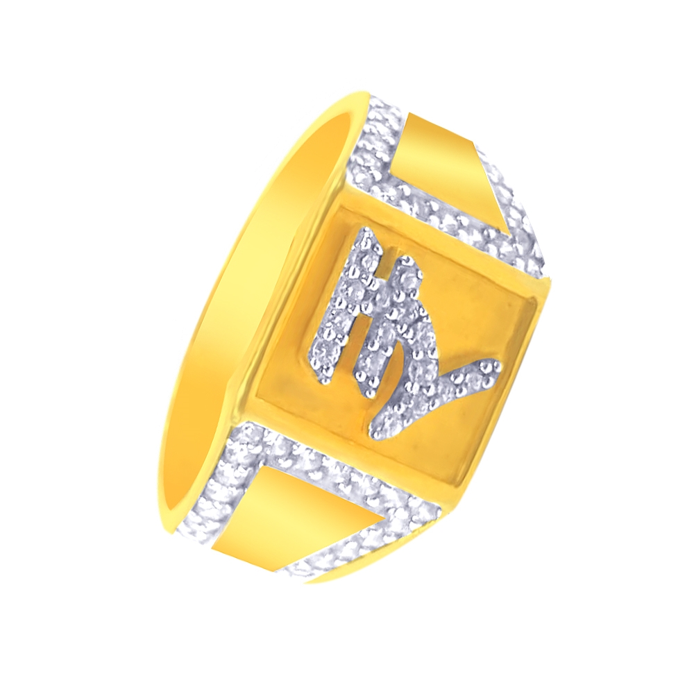 Sparkling Currency Yellow Gold 18kt CZ Diamond Ring-SCGR01