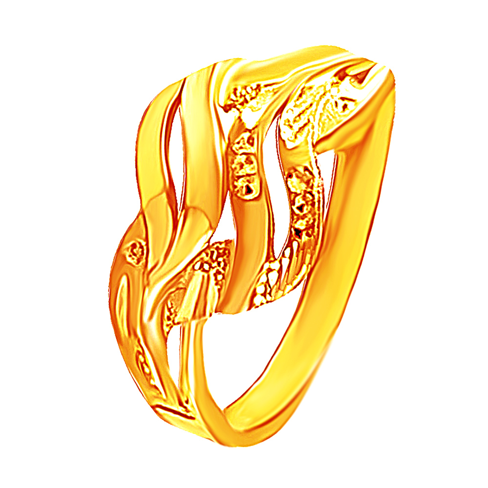 Gold Glossy Matte Curve Cutour 22kt Yellow Gold Ring-379-18064596 18064596-1.jpg