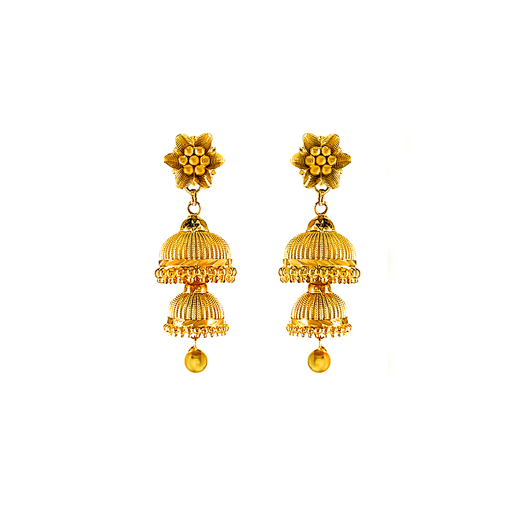 Ceremonial Two Layered Yellow Gold 22kt Jhumka Earring-18712905