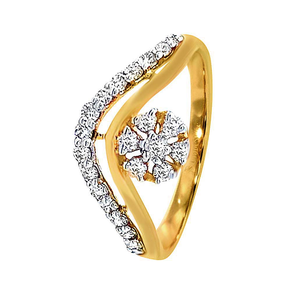 Delicate Yellow Gold 18kt Diamond Ring-19431114